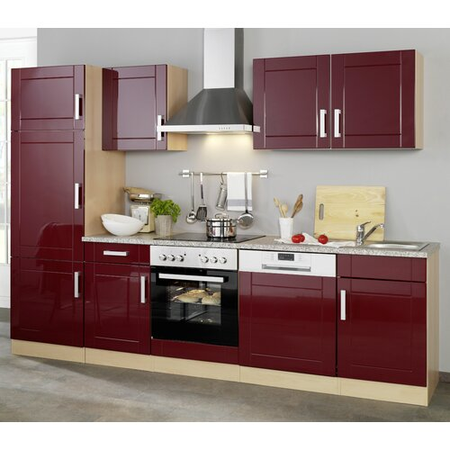Tyndalls Park Fitted Kitchen Brayden Studio Colour Body Beech Colour Front Glossy Red
