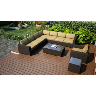 Hodge 10 Piece Sectional Set with Cushions by Rosecliff Heights