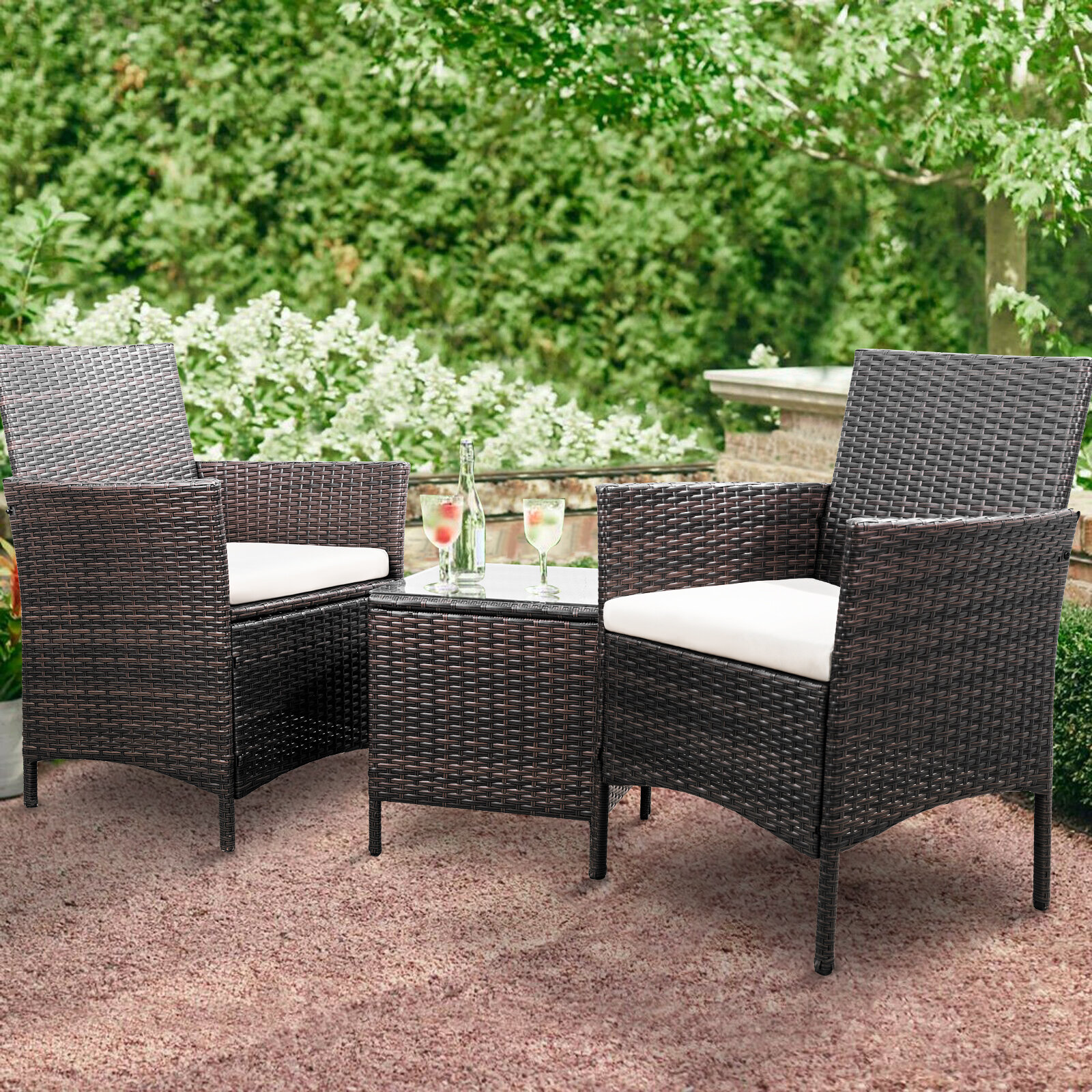 Brayden Studio Jagger 3 Piece Rattan 2 Person Seating Group with