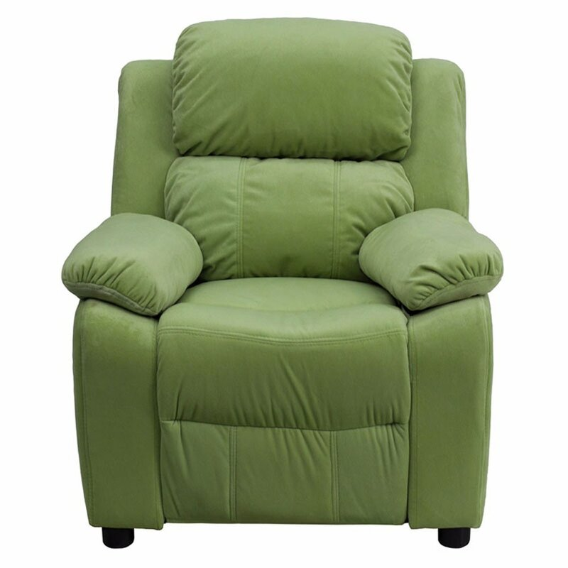 Ashley Heavily Padded Contemporary Upholstery Kids Recliner With Storage Arm