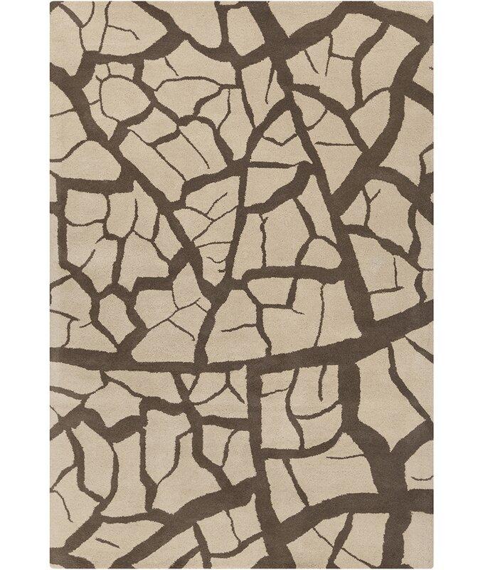 Latitude Run Millwood Hand Tufted Wool Beige Dark Brown Area Rug Wayfair