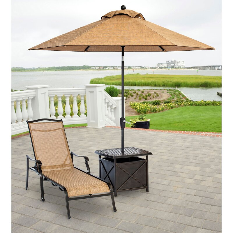 Fleur De Lis Living Sandefur Patio Furniture Lawn Chaise Lounge Set With Cushions And Table Wayfair
