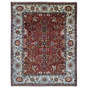 Gallatin Serapi Hand-Woven Wool Red Area Rug