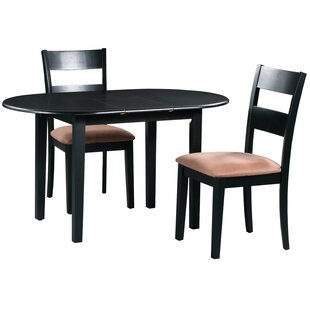 Forsyth 3 Piece Extendable Solid Wood Dining Set Alcott Hill