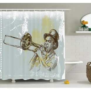Compare Music Trumpet Player Jazz Art Shower Curtain Set By Ambesonne