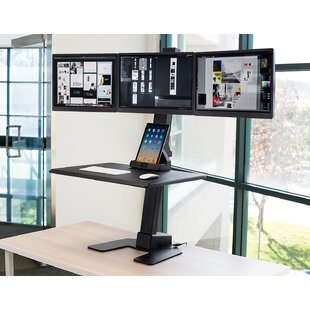 Claborn Triple Monitor Electric Height Adjustable Standing Desk Converter by Symple Stuff Cool