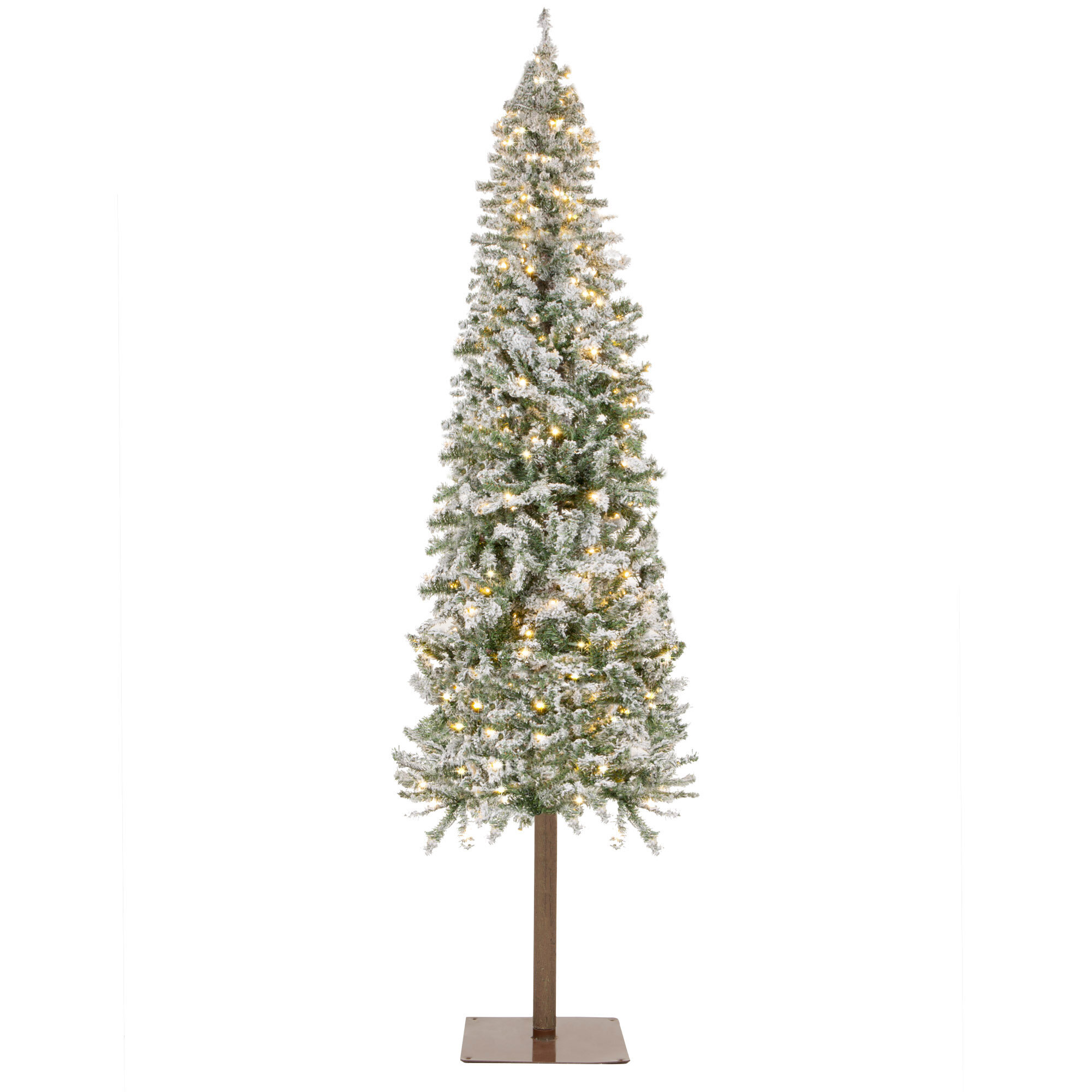 The Holiday Aisle 6ft Pre Lit Snow Flocked Pencil Alpine Christmas Tree Holiday Decoration W 250 Led Lights Stand Reviews Wayfair
