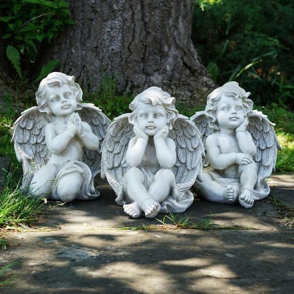 Sitting Cherub Angel Decorative Outdoor 3 Piece Garden Statue Set