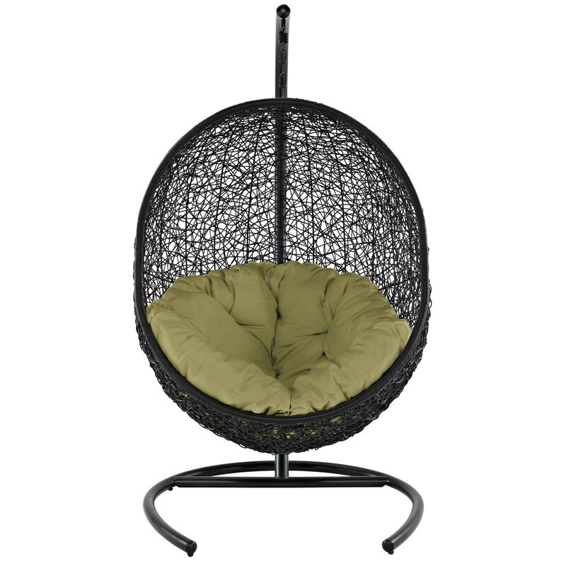 Bungalow Rose  Herculaneum Encase Swing Chair with Stand Color: Peridot
