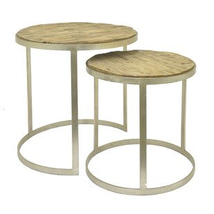 Three Hands Co. Wood 2 Piece Nesting Tables