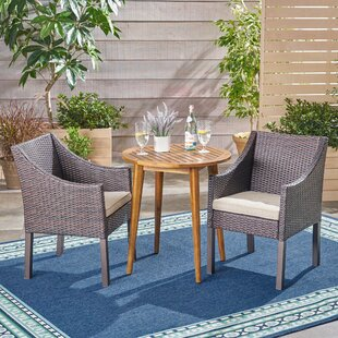 Bungalow Rose RoddenOutdoor 3 Piece Bistro Set with Cushions