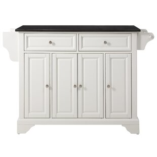 Darby Home Co Abbate Kitchen Island with Solid Black Granite Top