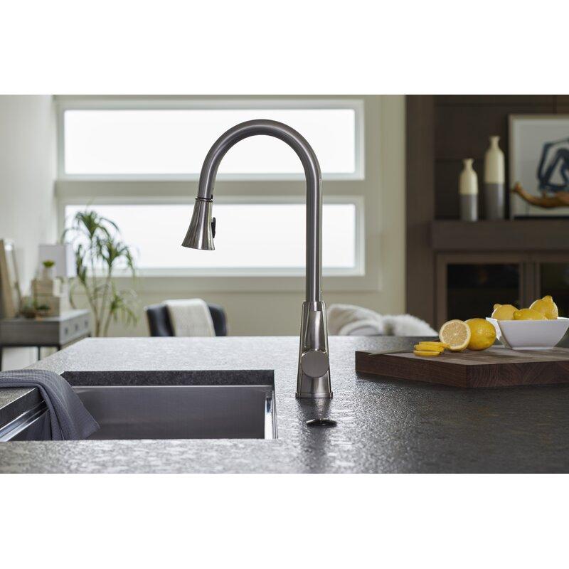 Pacific Bay Bridgeport Pull Down Single Handle Kitchen Faucet Reviews Wayfair