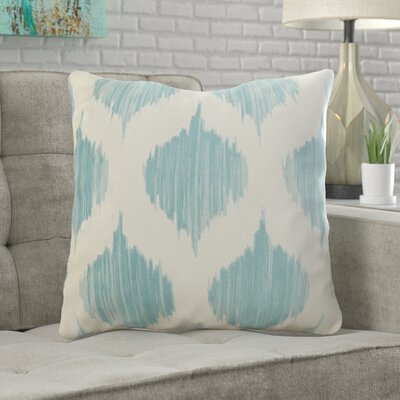 Wrought Studio Watson 100% Cotton Throw Pillow Size: 18 H x 18 W x 4 D, Color: Blue, Filler: Polyester