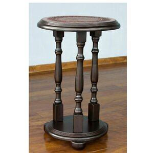 Novica Pedestal Mohena Wood and Leather End Table