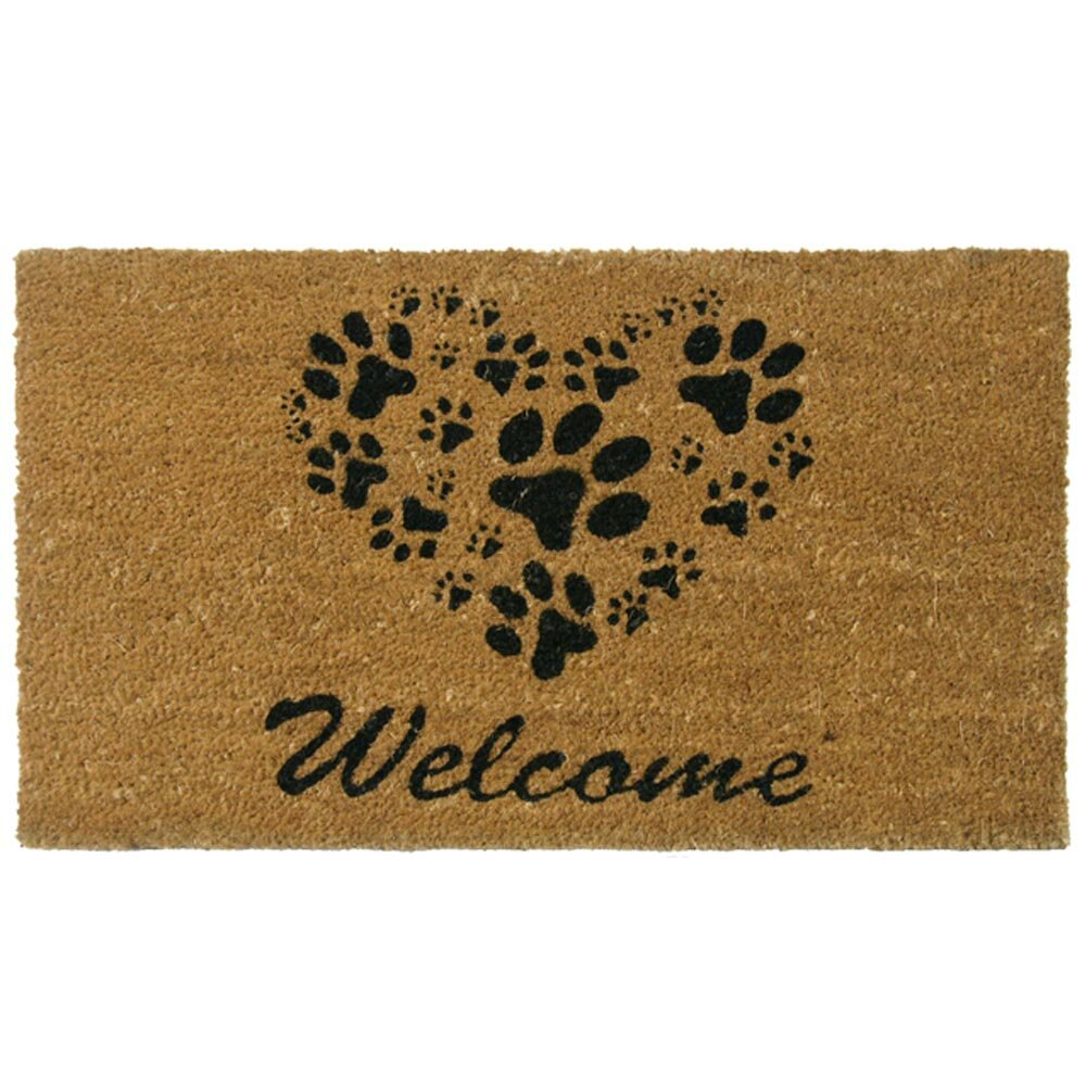 Three Posts Hannah Heart-Shaped Paws Welcome Doormat & Reviews ...