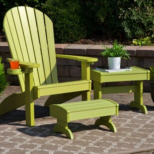 Bayou Breeze Kells 3 Piece Plastic Adirondack Chair Set with Ottoman and Table