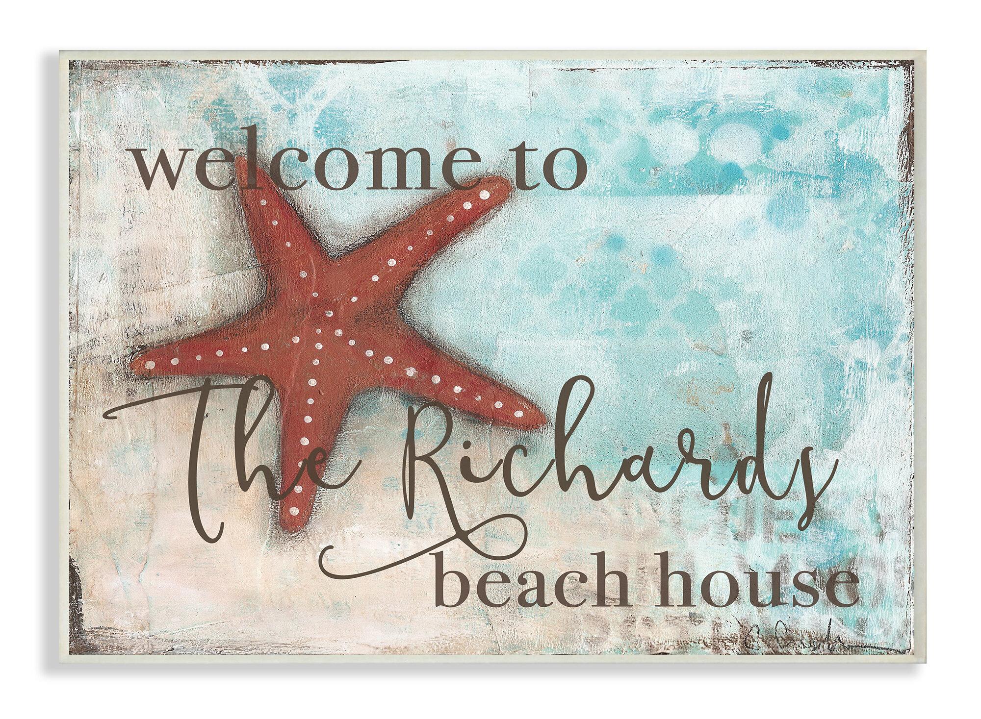 Bedroom Door Sign Welcome to our Beach House Beach Decor Metal Door Decorative UV Protected /& Waterproof Plaque