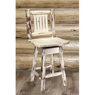Abordale 24 Natural Swivel Bar Stool Loon Peak