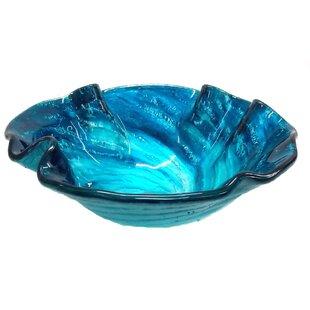 Affordable Carribean Wave Glass Specialty Vessel Bathroom Sink ByEden Bath