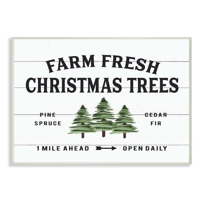 Farm Fresh Christmas Trees.Planked Look Holiday Farm Fresh Christmas Trees Spruce And Fir Graphic Art Print