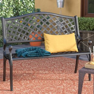 Magnificent Ismenia Checkered Outdoor Cast Aluminum Patio Garden Bench Camellatalisay Diy Chair Ideas Camellatalisaycom