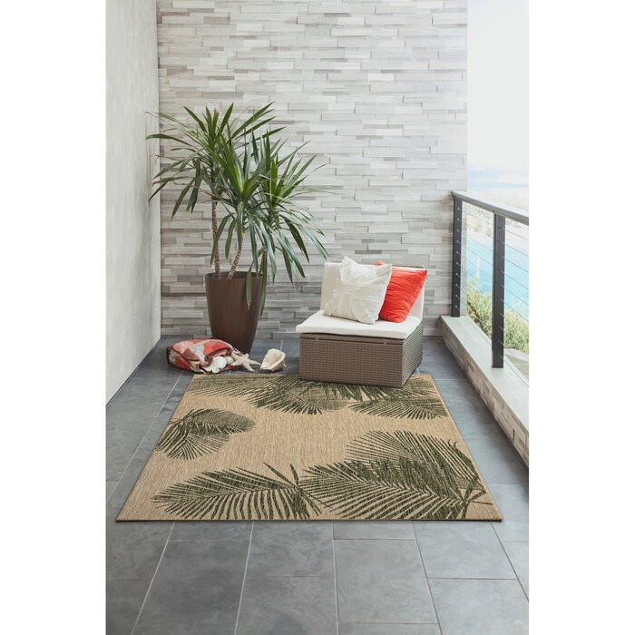 Bradly Floral Green Indoor / Outdoor Area Rug