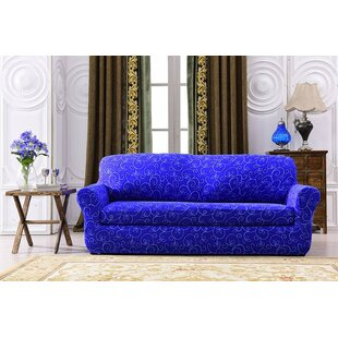 Great choice Printed Spandex Box Cushion Sofa Slipcover by House of Hampton Reviews (2019) & Buyer's Guide