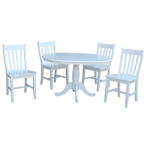 Petra Extendable Pedestal 5 Piece Wood Dining Set by August Grove