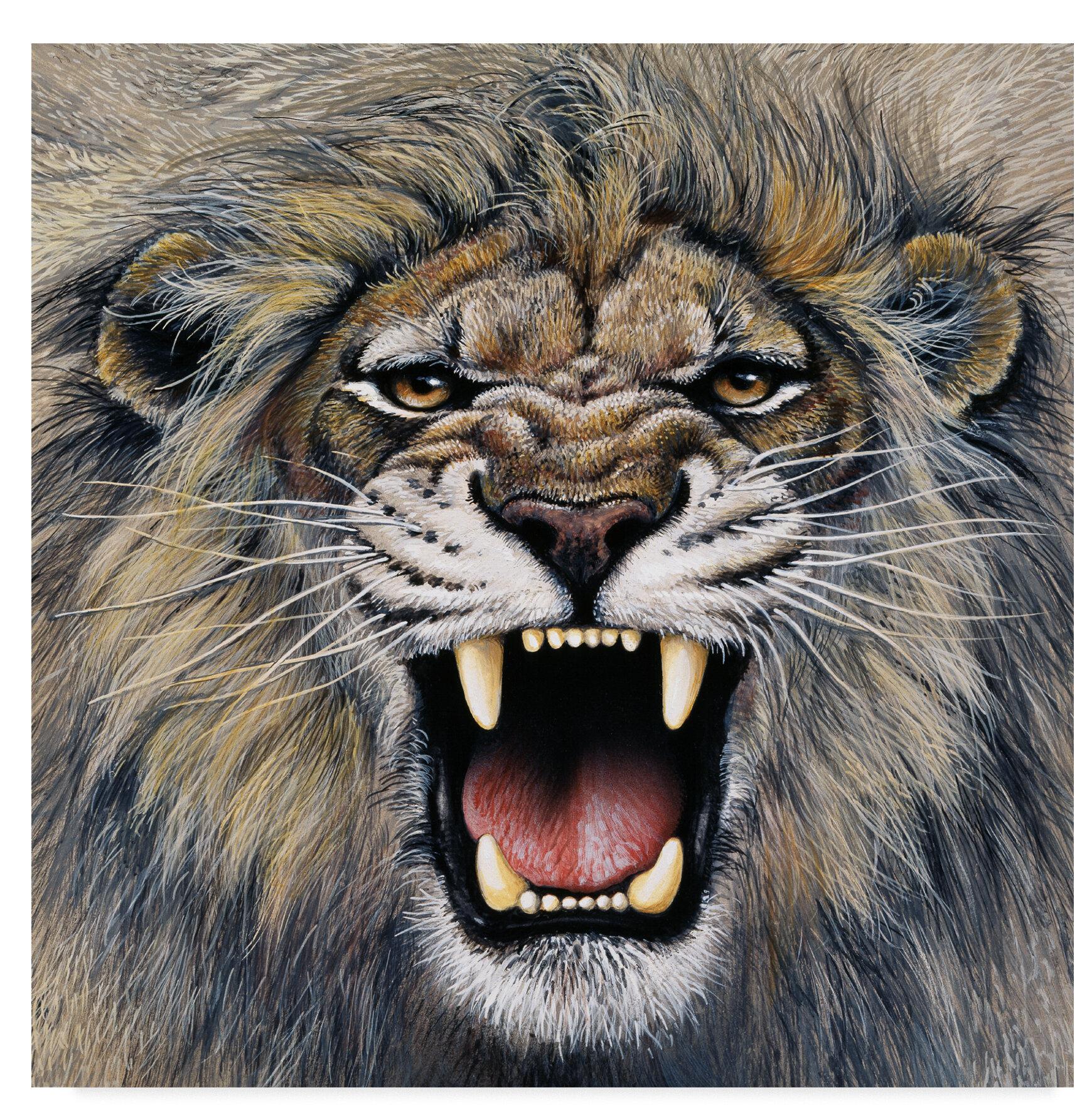 Trademark Art 'Lion Roaring' Acrylic Painting Print On
