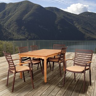Beachcrest Home Elsmere 7 Piece Teak Dining Set with Cushions