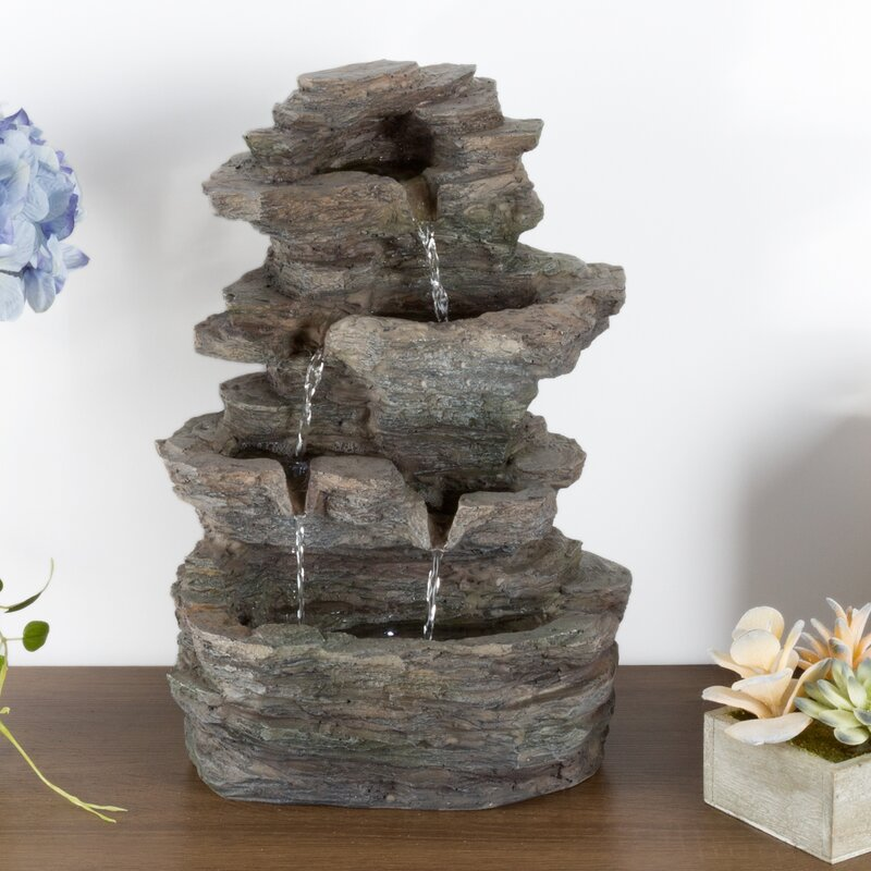 Attirant Polyresin Stone Tabletop Fountain With LED Light