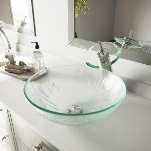 Shopping for Icicles Tempered Glass Circular Vessel Bathroom Sink By VIGO