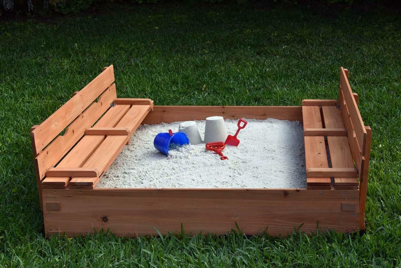 Harriet Bee Eirwen Kids Cedar 3.8 ft. Square Sandbox with Cover & Reviews