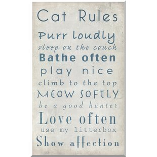 'Cat Rules I' Framed Textual Art by Latitude Run