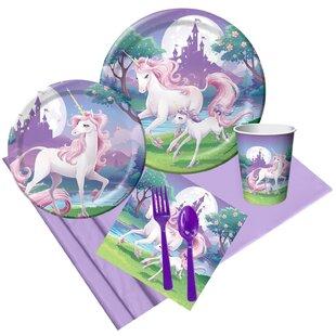 57 Piece Unicorn Fantasy Paper Disposable Party Supplies Set