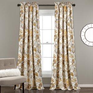 Orson Nature/Floral Room Darkening Rod Pocket Curtain Panels (Set Of 2)