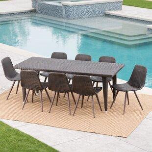 Gariepy Outdoor Wicker 9 Piece Dining Set
