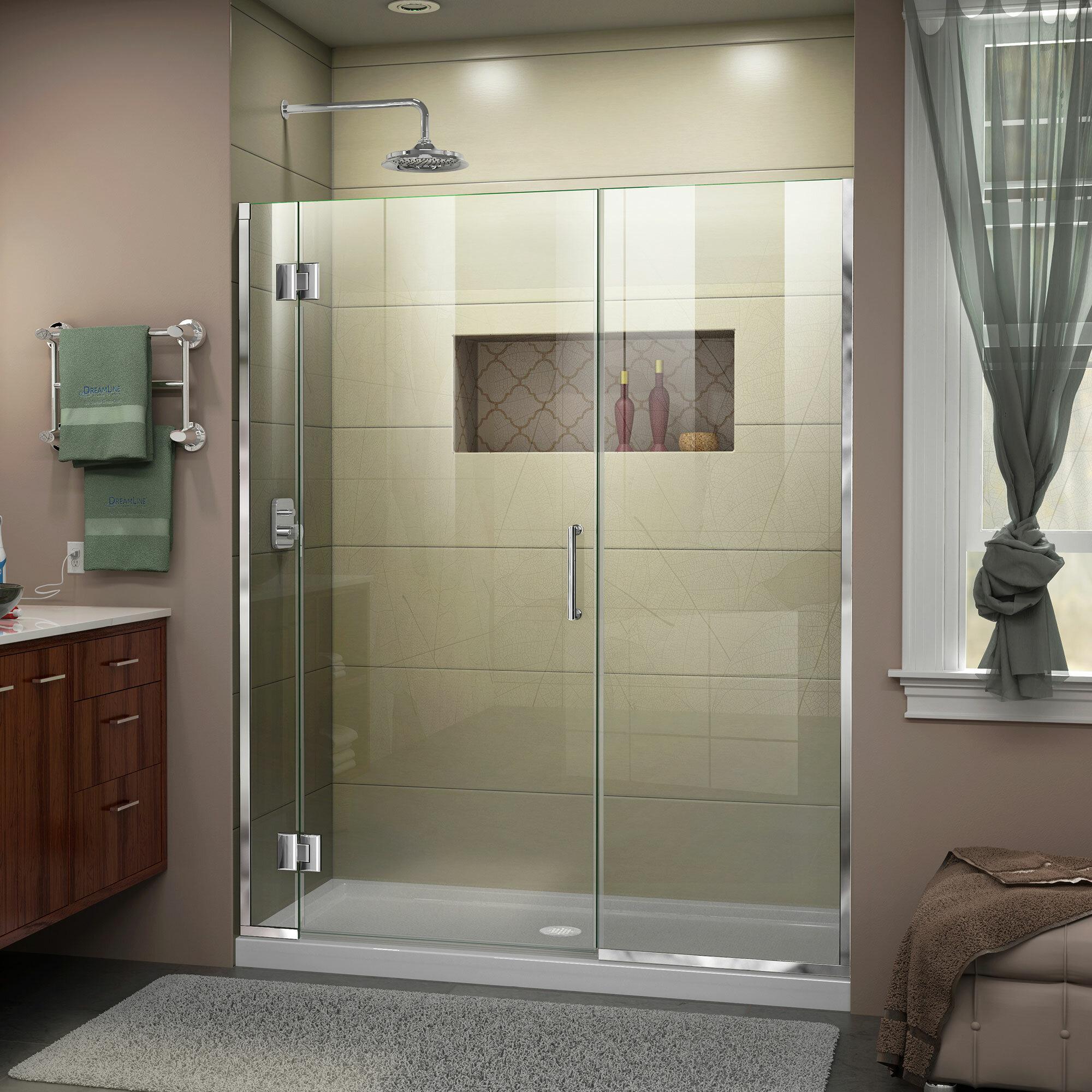 """Unidoor-X 10 """" W x 10 """" H Hinged Frameless Shower Door"""