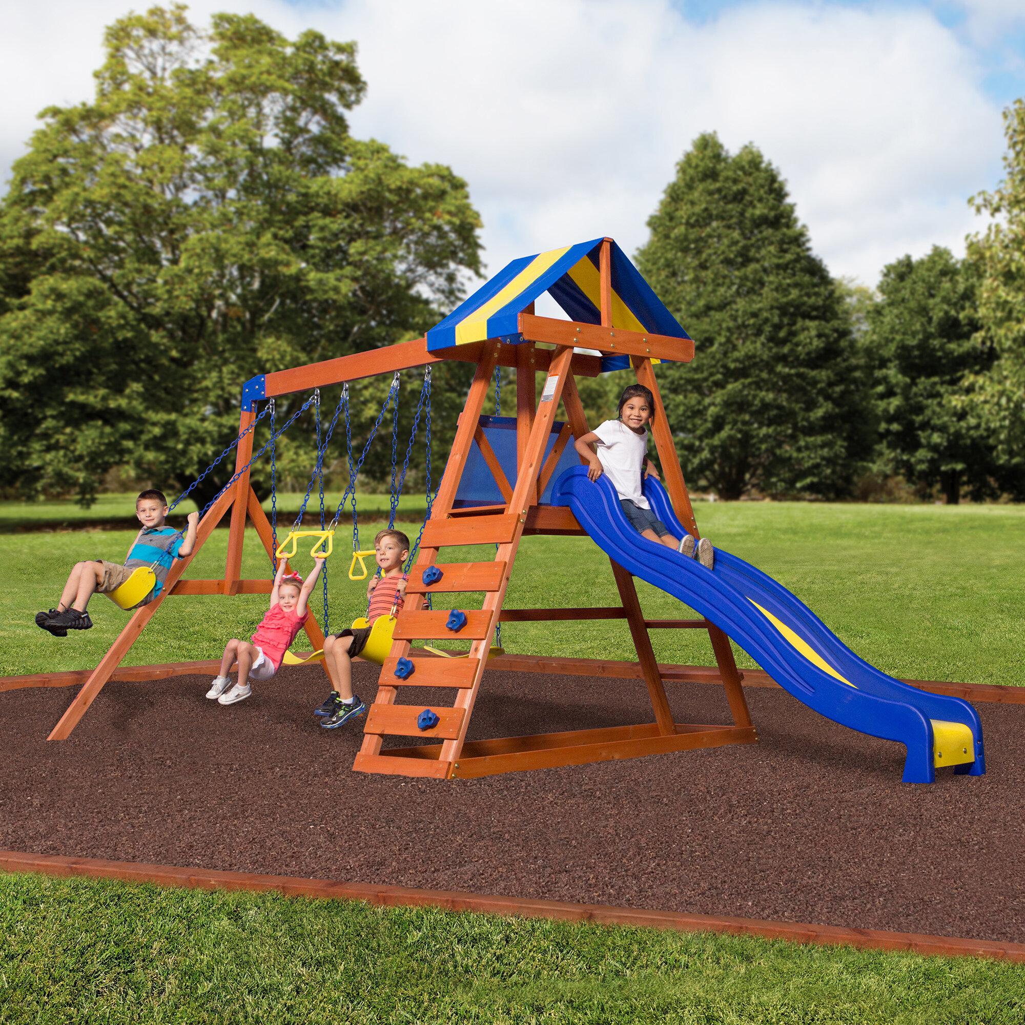 Backyard Discovery Dayton All Cedar Swing Set Reviews Wayfair