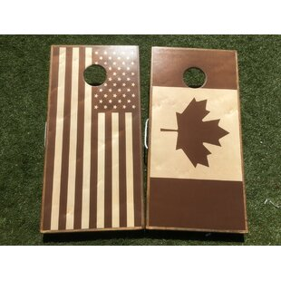 91813c4ef47a26 Stained American Flag Canadian Flag 10 Piece Cornhole Set