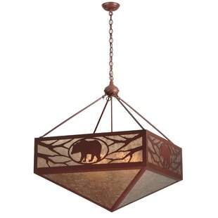 Meyda Tiffany Greenbriar Oak Lone Bear 6-Light Bowl Pendant