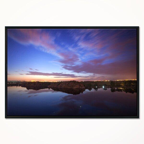 East Urban Home Dark Night Sky Over River Framed Photograph On Canvas Wayfair