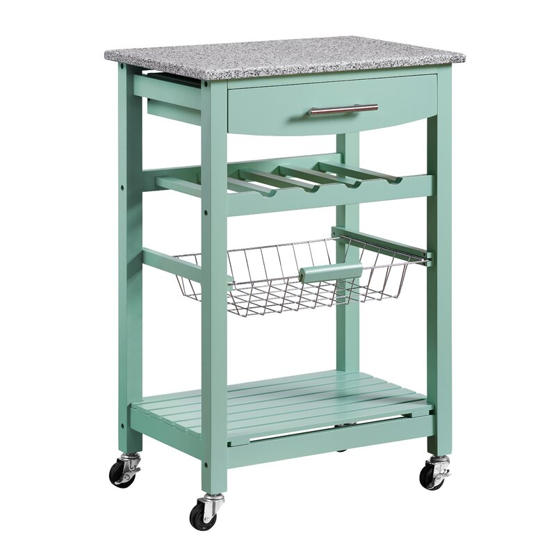 Bon Macy Kitchen Cart With Granite Top