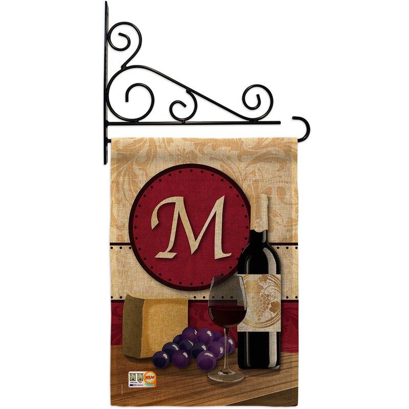 Breeze Decor Wine Initial Happy Hour And Drinks 2 Sided Burlap 19 X 13 In Garden Flag Wayfair