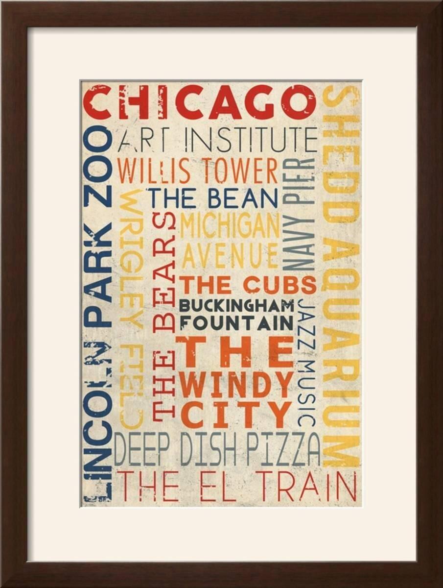 Winston Porter \'Chicago, Illinois - Typography\' Framed Textual Art ...