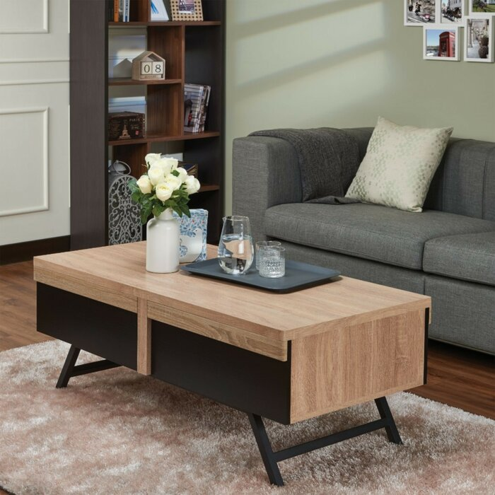 Peachy Denya Rectangular Wood And Metal Coffee Table With Storage Machost Co Dining Chair Design Ideas Machostcouk