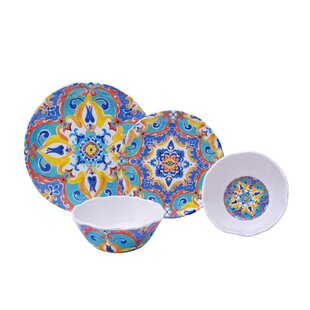 Romella 12 Piece Melamine Dinnerware Set Service for 4  sc 1 st  Wayfair : dinnerware and serveware sets - Pezcame.Com