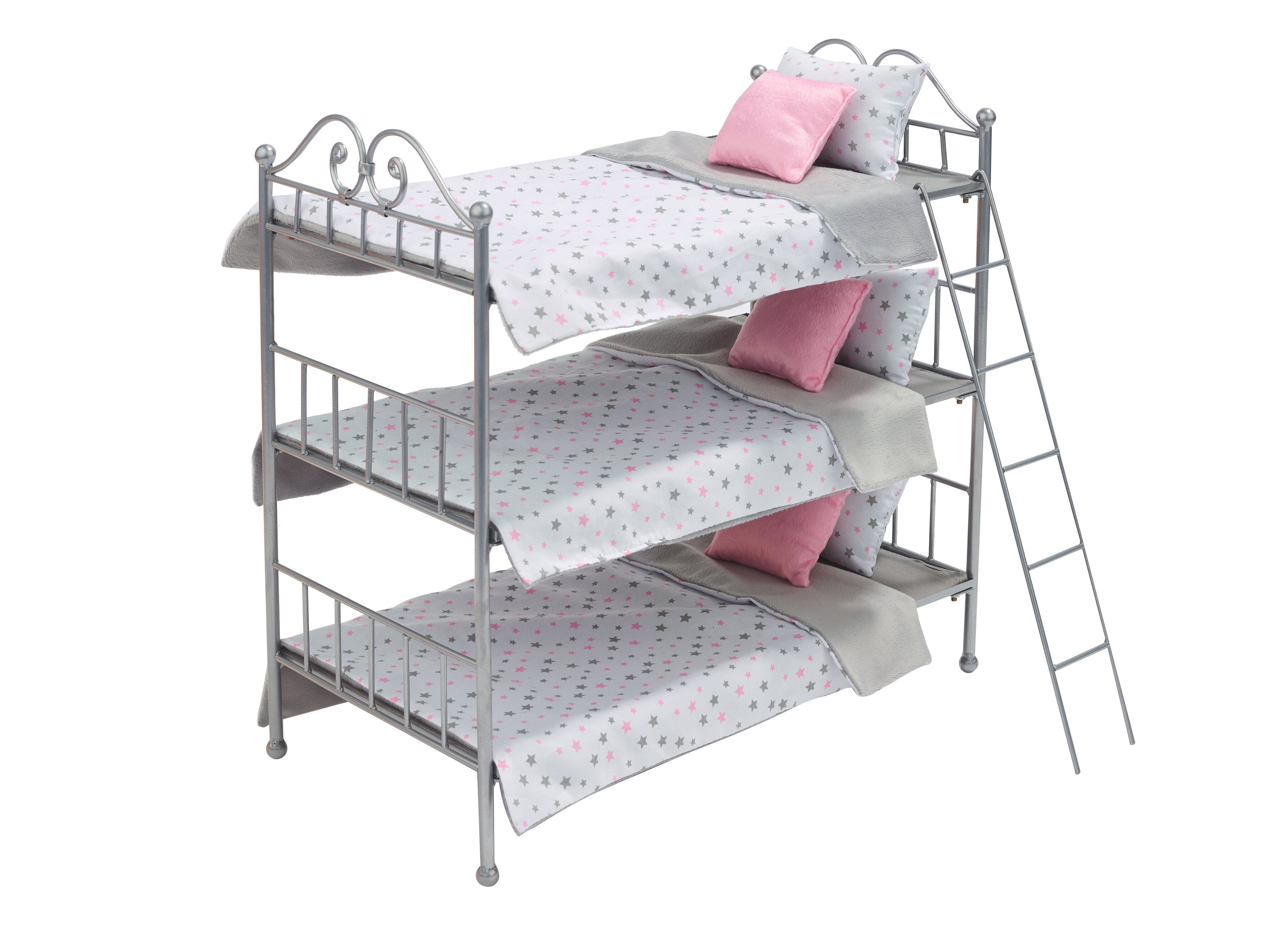 Picture of: Badger Basket Scrollwork Triple Doll Bunk Bed With Ladder And Bedding
