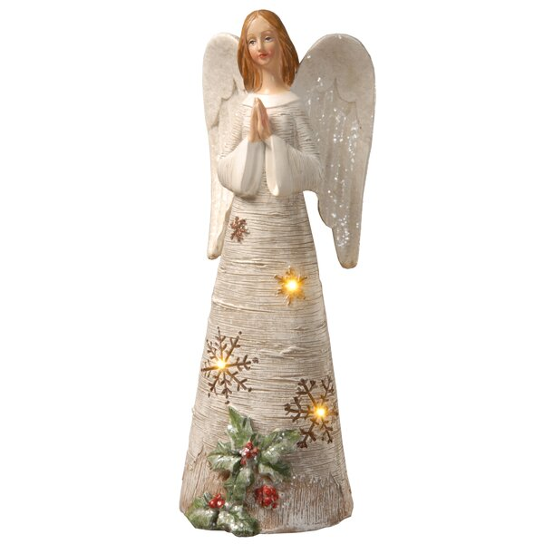 Wood Angel Figurine with Rustic Wings Wooden Angel Sculpture Holiday Decor